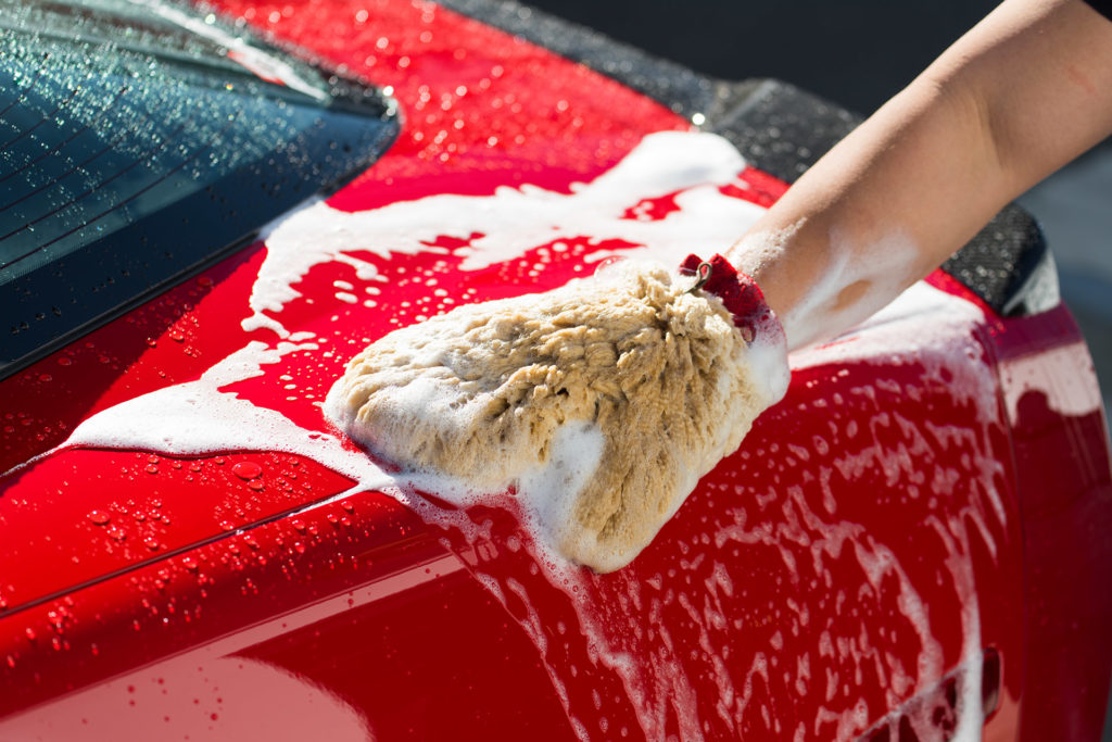 automotive photography Mother's detail guide how to properly wash car with soap and mitt