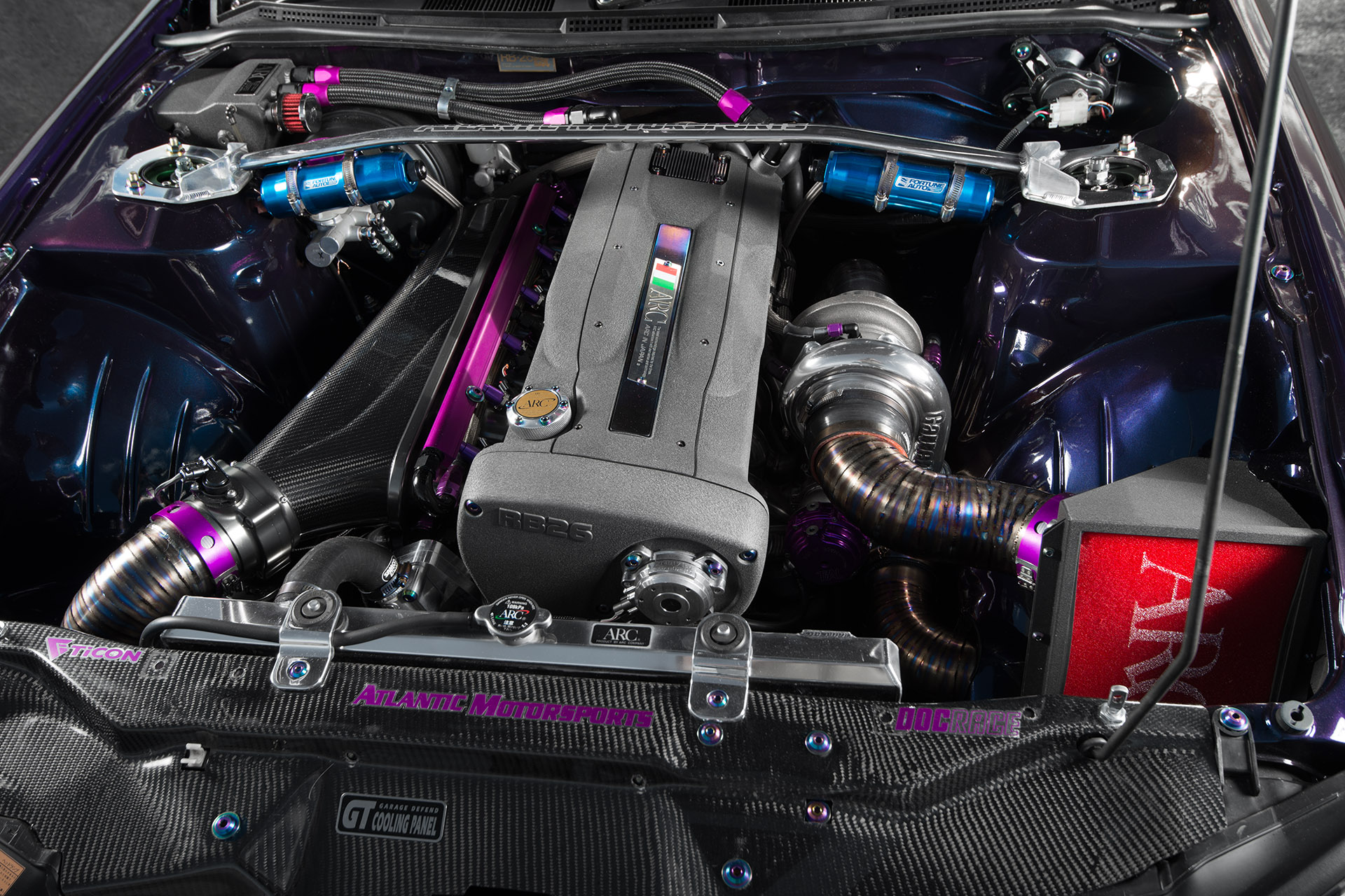 Nissan RB26DETT engine swap in Midnight Purple III S15 Silvia Super Street magazine engine bay automotive photography
