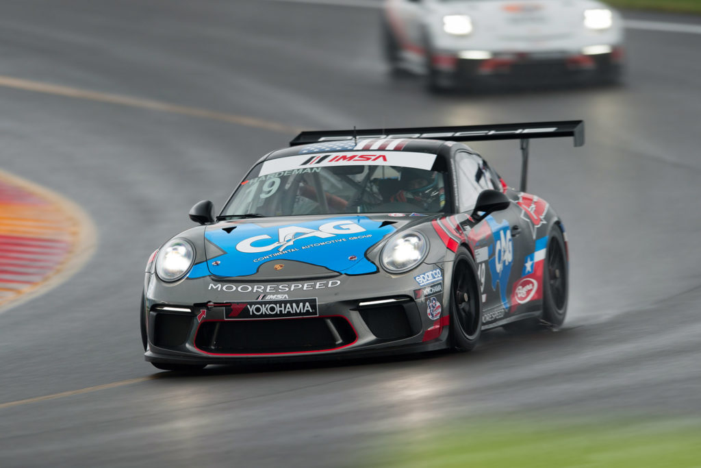 IMSA Watkins Glen 19 Moorespeed Porsche 911 GT3 Cup car racing in the rain motorsports photography