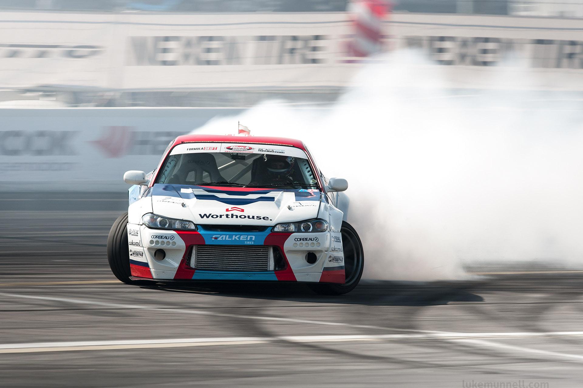 luke Munnell motorsports photography Formula Drift Irwindale Worthouse Nissan S15 Silvia Piotr Wiecek in smokey drift