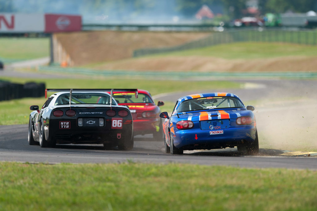 NASA road racing at VIR miata versus corvette