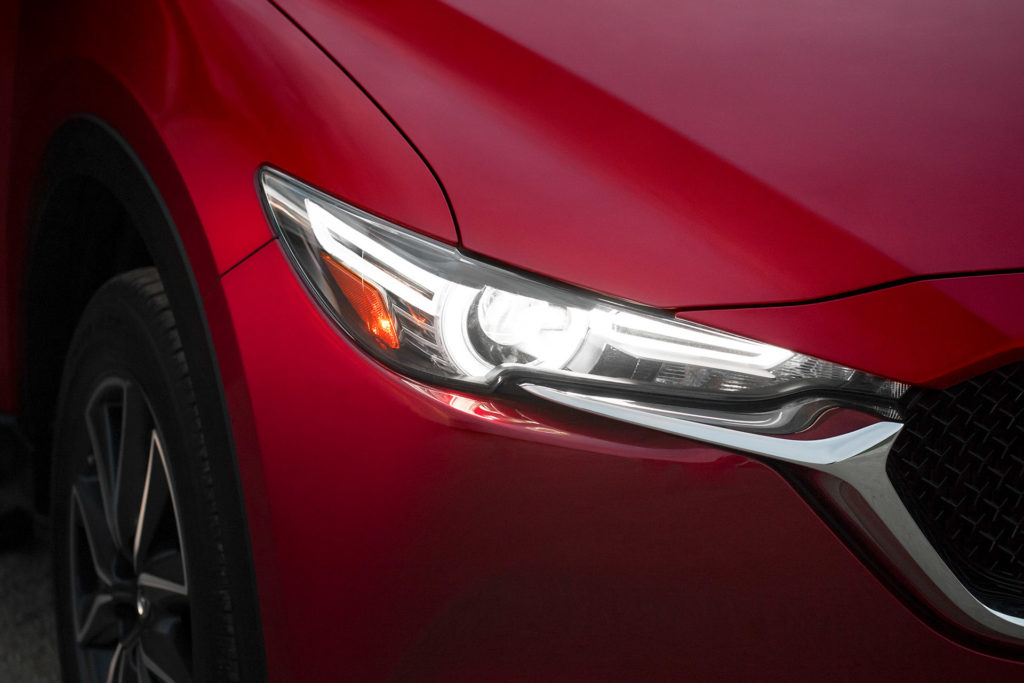 Soul Red 2018 Mazda CX-5 headlight closeup detail automotive photography