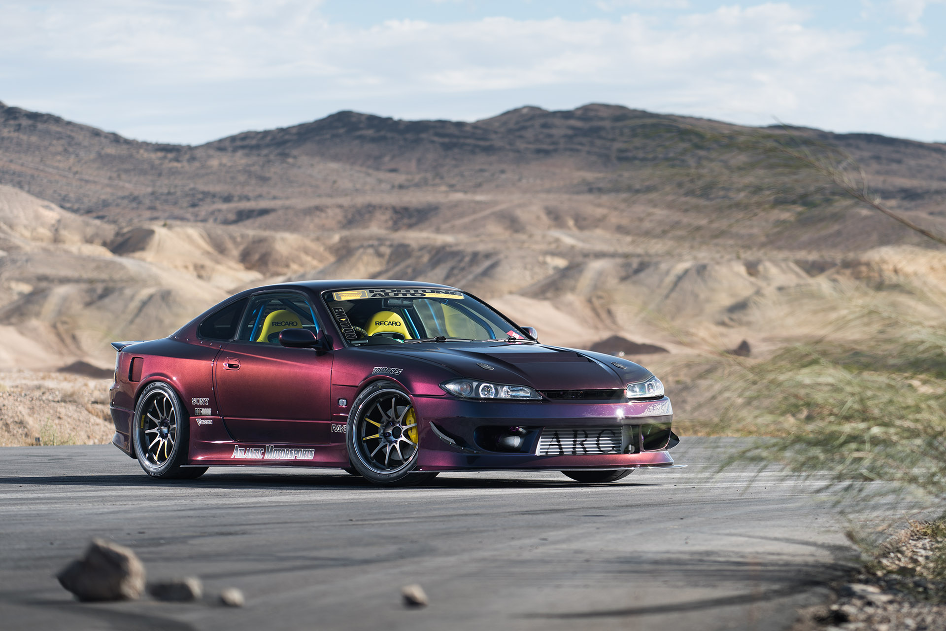 Luke Munnell automotive photography RB26DETT swapped Midnight Purple III Nissan S15 Silvia front shot for Super Street magazine