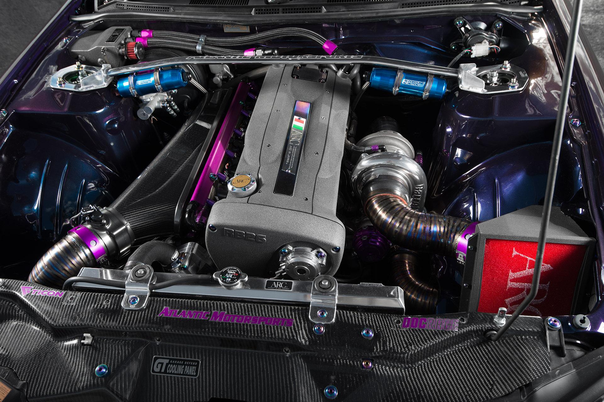 Nissan RB26DETT engine swap in Midnight Purple III S15 Silvia Super Street magazine engine bay automotive photography
