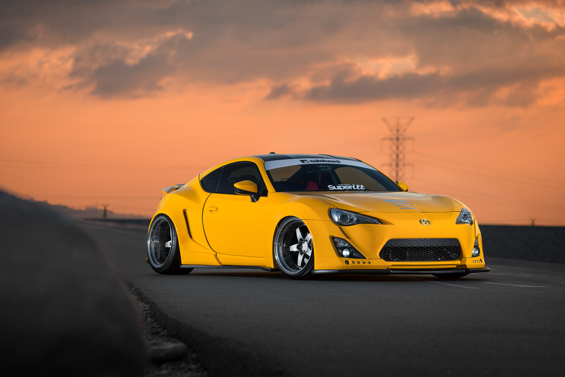 Luke Munnell automotive photography yellow Autotuned widebody Scion FR-S front shot for Super Street magazine