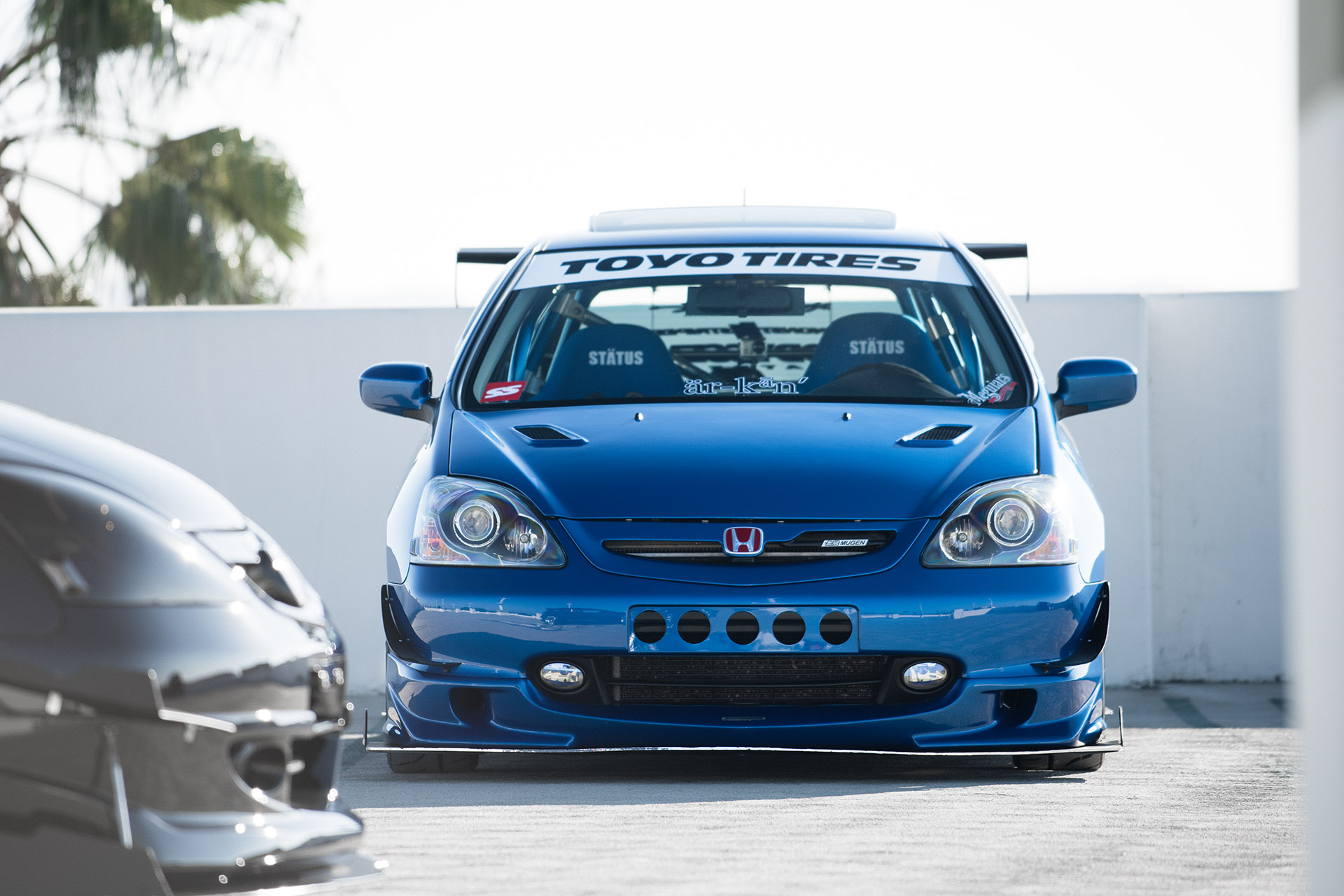 Luke Munnell automotive photography blue Honda Civic EP3 front shot for Super Street magazine dual feature