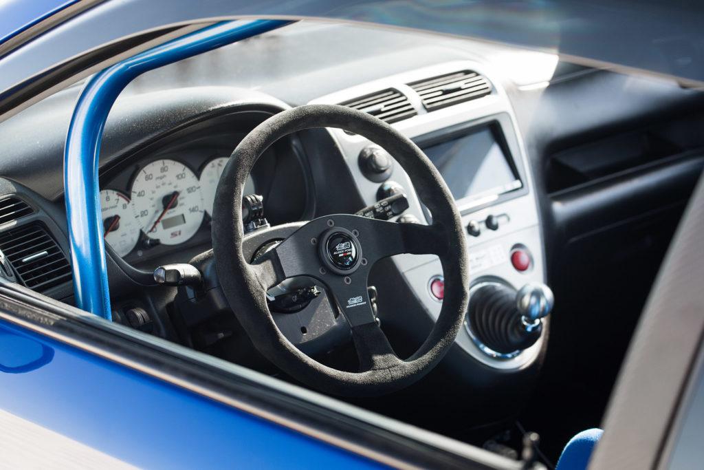 EP3 blue Honda Civic interior steering wheel gauges dash shifter Super Street magazine