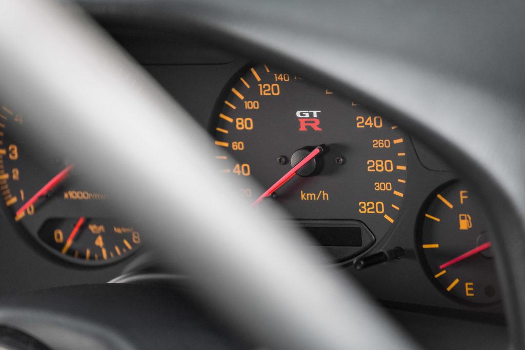 R34 Nissan Skyline GT-R interior gauge cluster in Super Street magazine