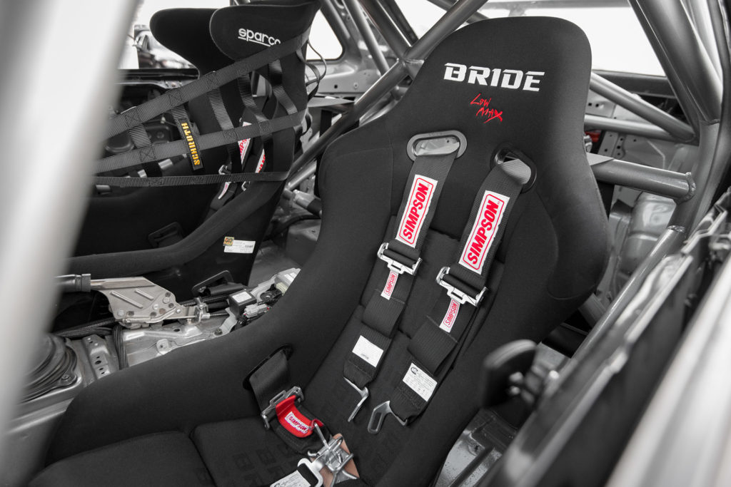 R34 Nissan Skyline GT-R race car interior Bride seats harnesses roll cage by Kyle Padelford