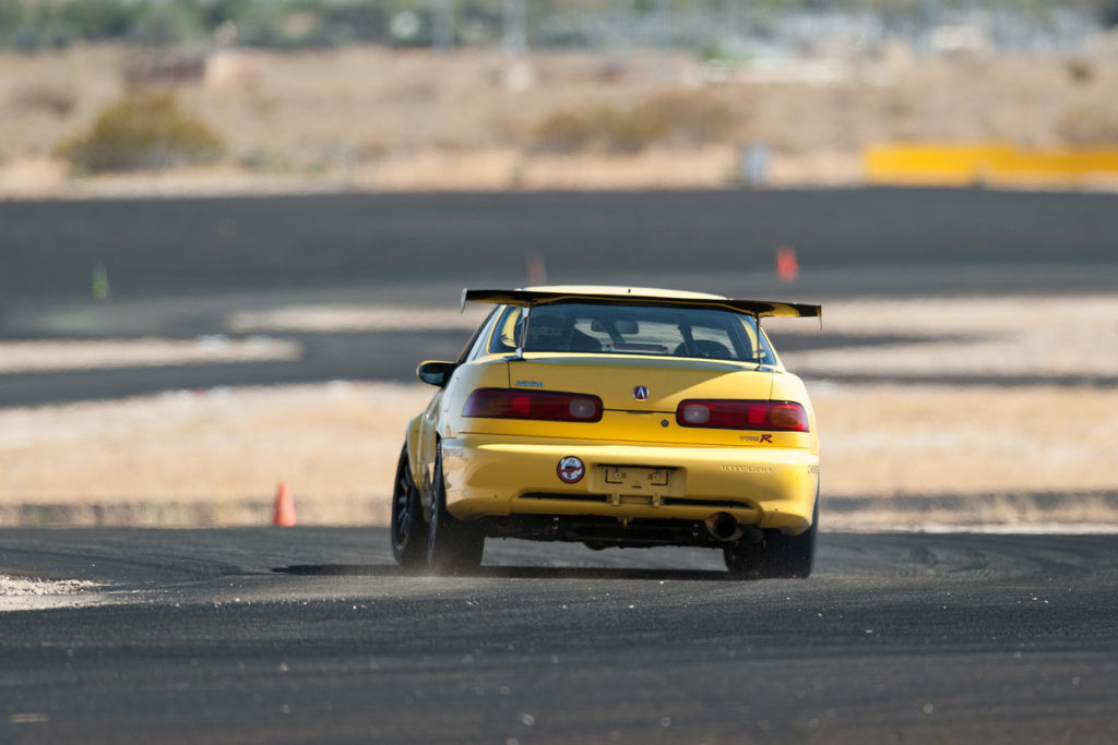 yellow Acura Integra DC2 Type R time-attack race car at Super Street magazine FF Battle motorsports photography