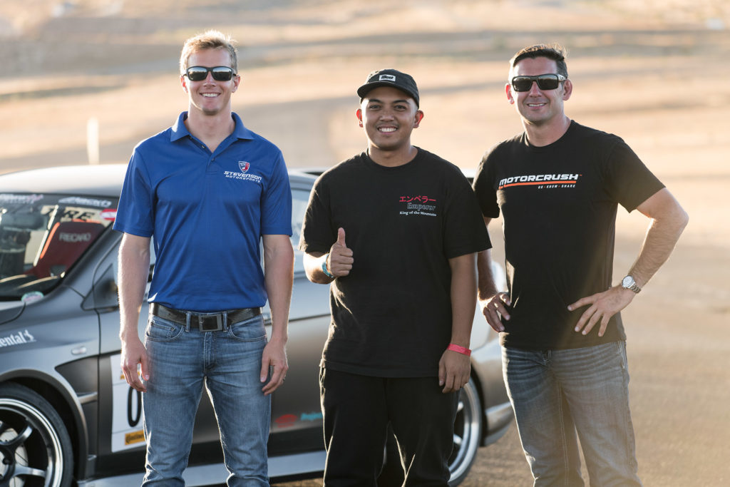 Super Street magazine Show Car Shootout winner Rowie Landicho with professional racing instructor Lawson Aschenbach and Andy Lally