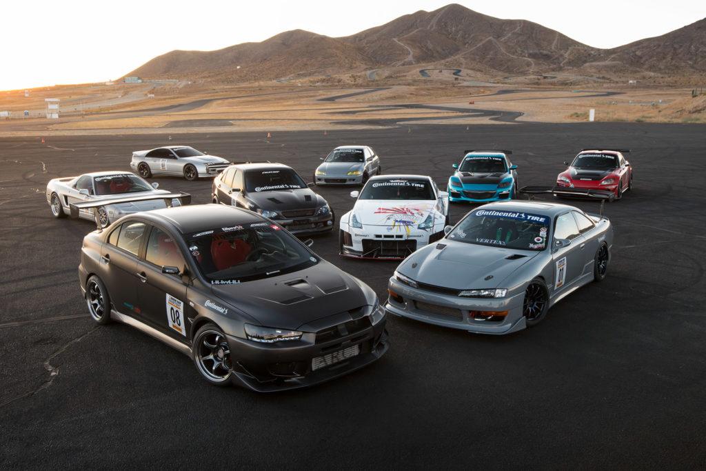 Super Street magazine Show Car Shootout group shot Mitsubishi Lancer Evolution EVO Nissan S14 240SX Silvia 350Z Acura NSX Mazda RX-8 Honda S2000 Z32 300ZX Lexus IS300 Alteza