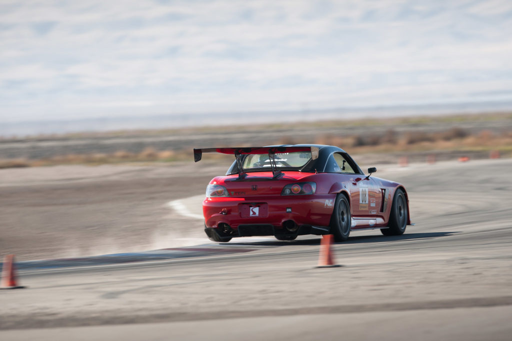 Red Honda S2000 time-attack racing at Odd Swaps Challenge