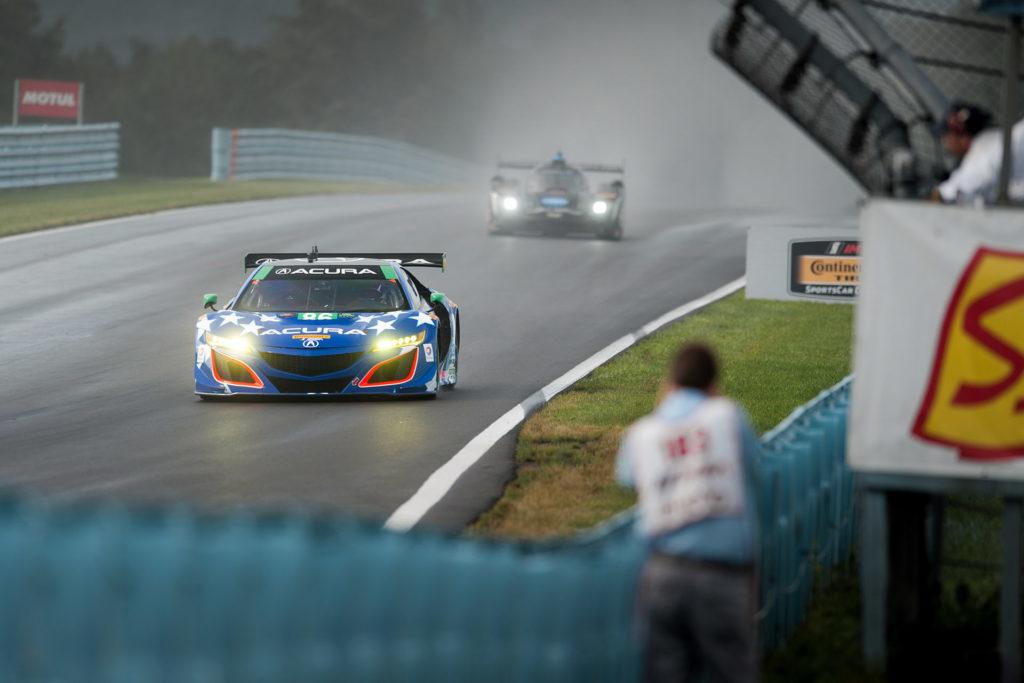 IMSA Watkins Glen Michael Shank 86 Acura NSX racing in the rain motorsports photography