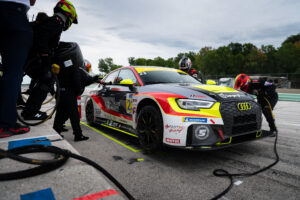 IMSA Michelin Pilot Challenge TCR Audi RS3 team FastMD in the pits at Road America Luke Munnell