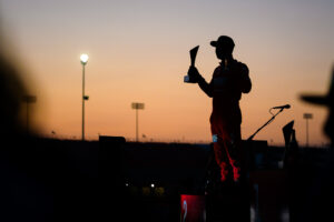 Ryan Tuerck, silhouetted on the podium at Formula D Pro drifting championship 2020 double header Round 1 at St. Louis, motorsports photography by Luke Munnell