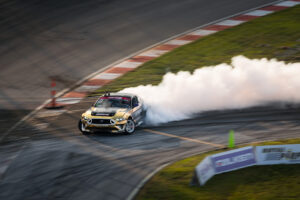 Chelsea DenoFa Nitto Tire Ford Mustang RTR drifting at Formula D Pro drifting championship 2020 double header Round 2 at St. Louis, motorsports photography by Luke Munnell