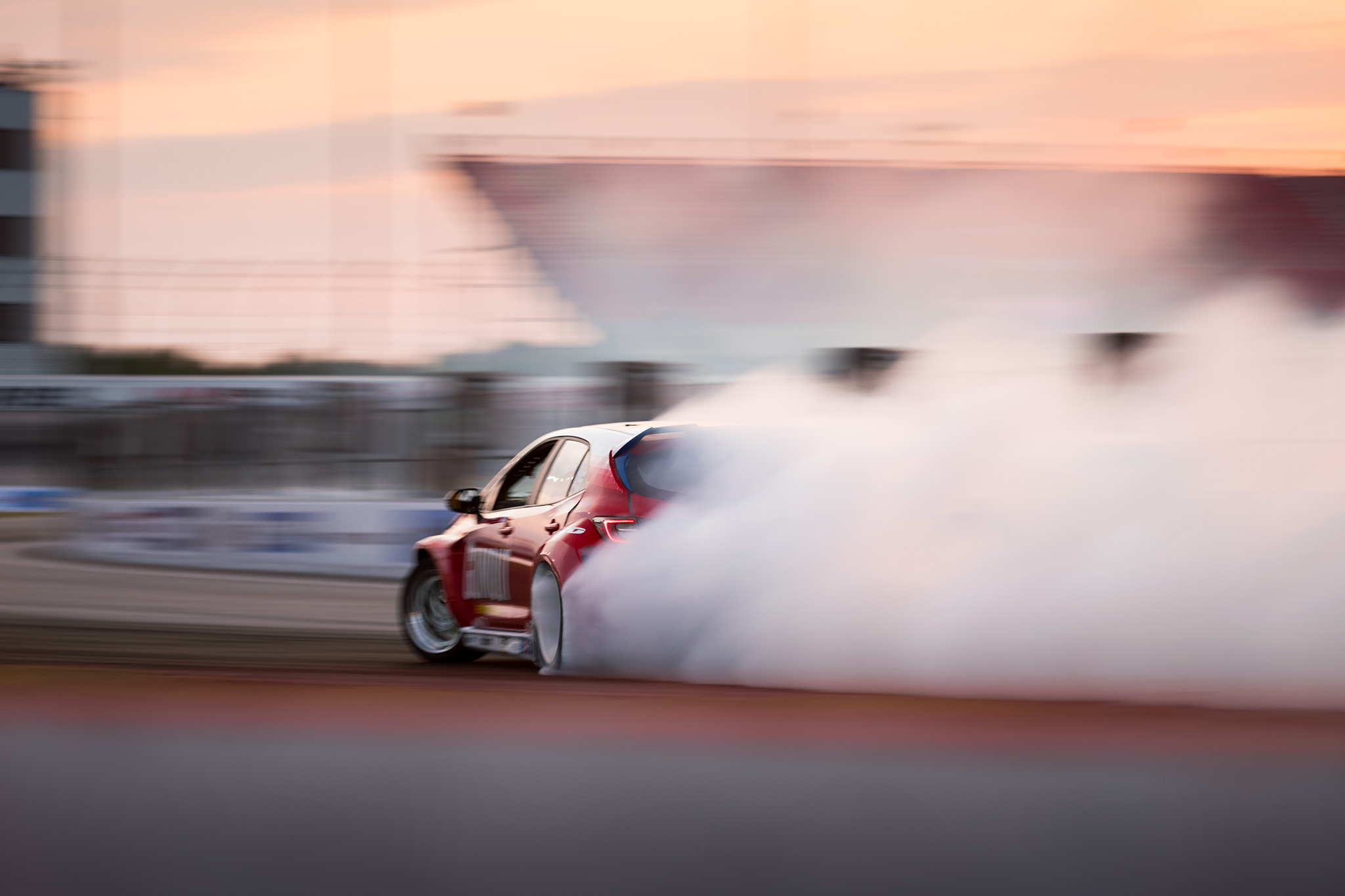 Ryan Tuerck, drifting off into the sunset at Formula D Pro drifting championship 2020 double header Round 2 at St. Louis, motorsports photography by Luke Munnell