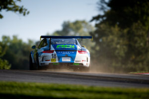 Richard Edge and the ACI Motorsports Porsche GT3 Cup Challenge car at IMSA Mid Ohio 2020 motorsports photography by Luke Munnell
