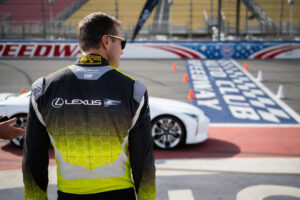 Lexus LC 500 0 to 60 campaign at Auto Club Speedway Fontana, with driving instructor Townsend Bell, motorsports photography by Luke Munnell