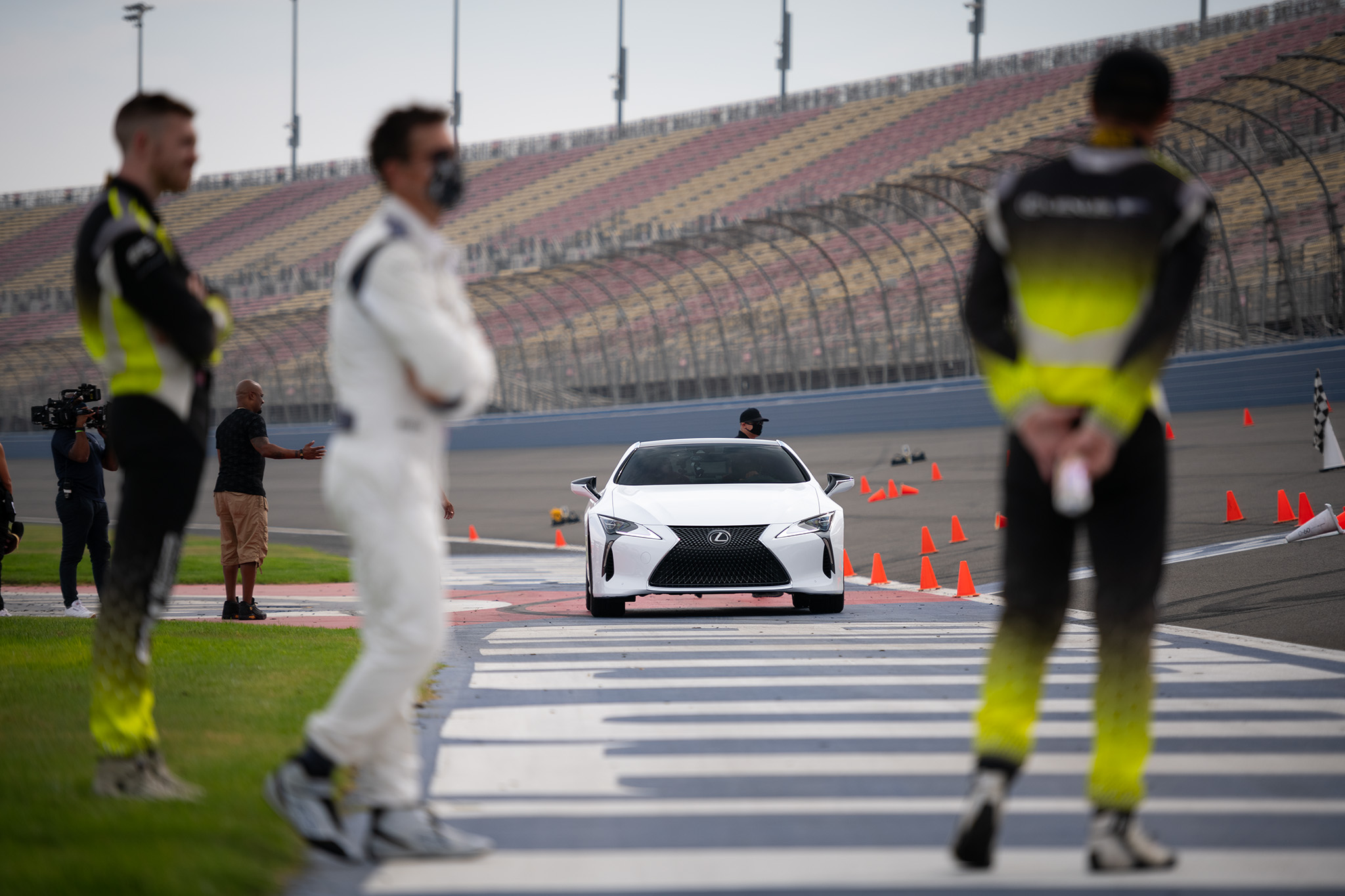 Lexus LC 500 0 to 60 campaign at Auto Club Speedway Fontana, with driving instructors Scott Pruett, Townsend Bell and Jack Hawksworth, motorsports photography by Luke Munnell