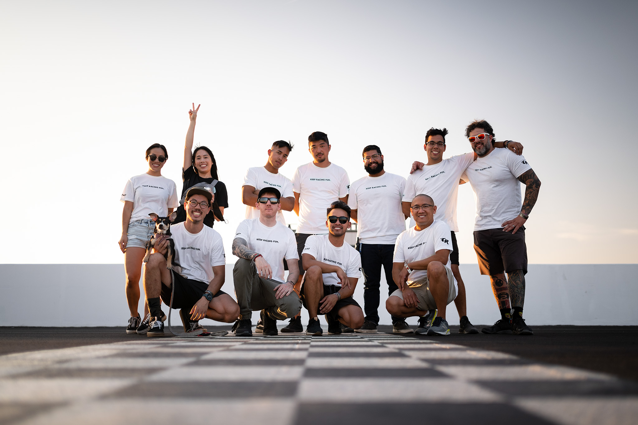 Club Racer Events, VTEC Club, RS future, Narita Dogfight, and Late Brake Coffee staff at Chuckwalla Valley Raceway in California, motorsports photography by Luke Munnell