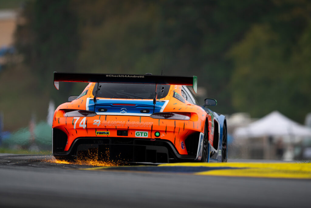 Ben Keating, throwing sparks in the Riley Motorsports Mercedes-AMG GT3 at IMSA Petit Le Mans at Road Atlanta, motorsports photography by Luke Munnell