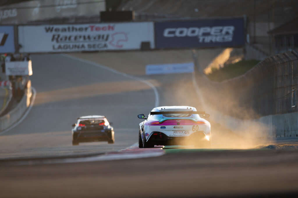 Nate Stacy and the Kohr Motorsports no. 60 Aston Martin Vantage GT4 at Laguna Seca, photography by Luke Munnell