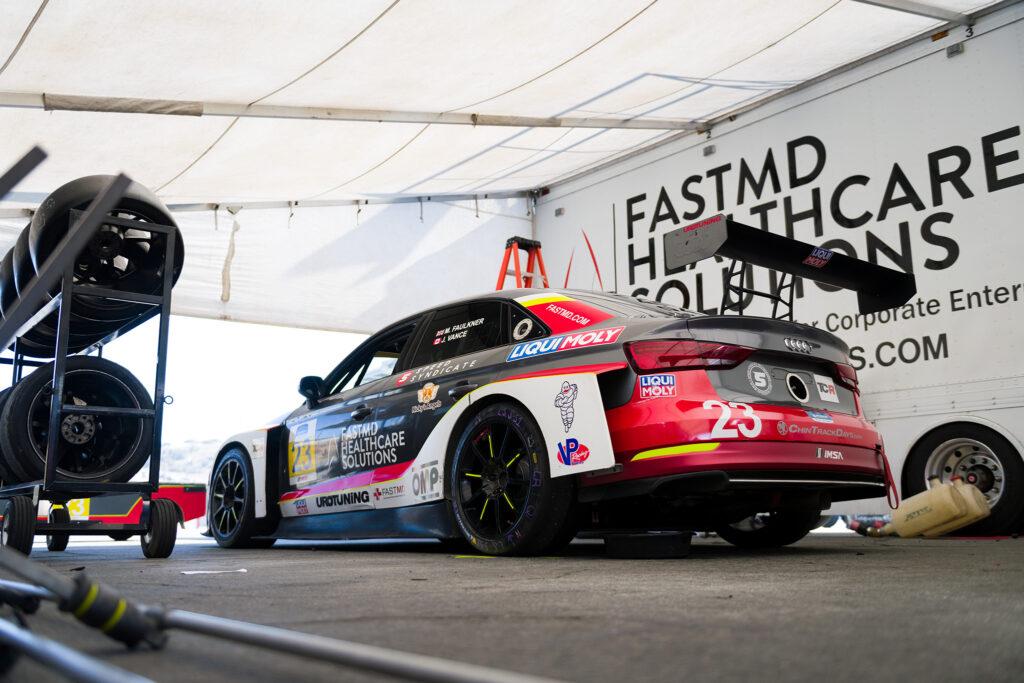 "FastMD's Audi RS3 LMS TCR ""Violet"" awaiting battle at IMSA Laguna Seca, motorsports photography by Luke Munnell"