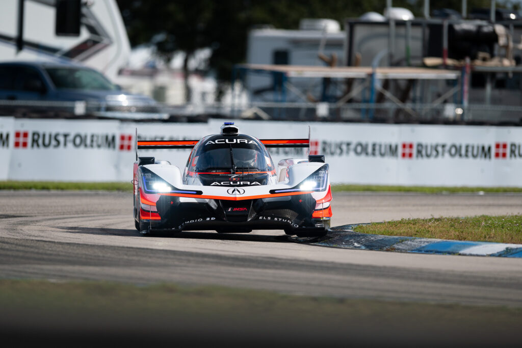 Alexander Rossi in the Acura Team Penske ARX-05 DPi during the 2020 12 Hours of Sebring, motorsports photography by Luke Munnell