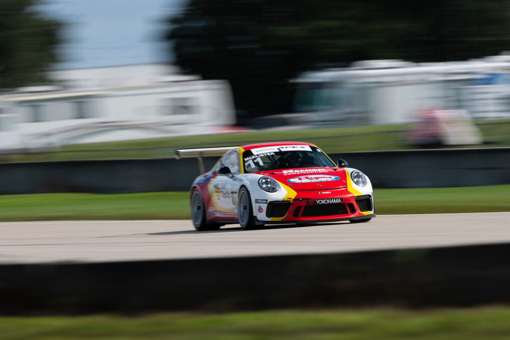 Sean McAlister and his JDX Racing backed Porsche GT3 Cup Challenge car at Sebring, motorsports photography by Luke Munnell