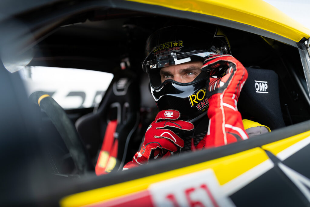 Fredric Aasbo, preparing for battle in his Papadakis Racing Toyota Supra at Formula D finals at Irwindale Speedway, motorsports photography by Luke Munnell