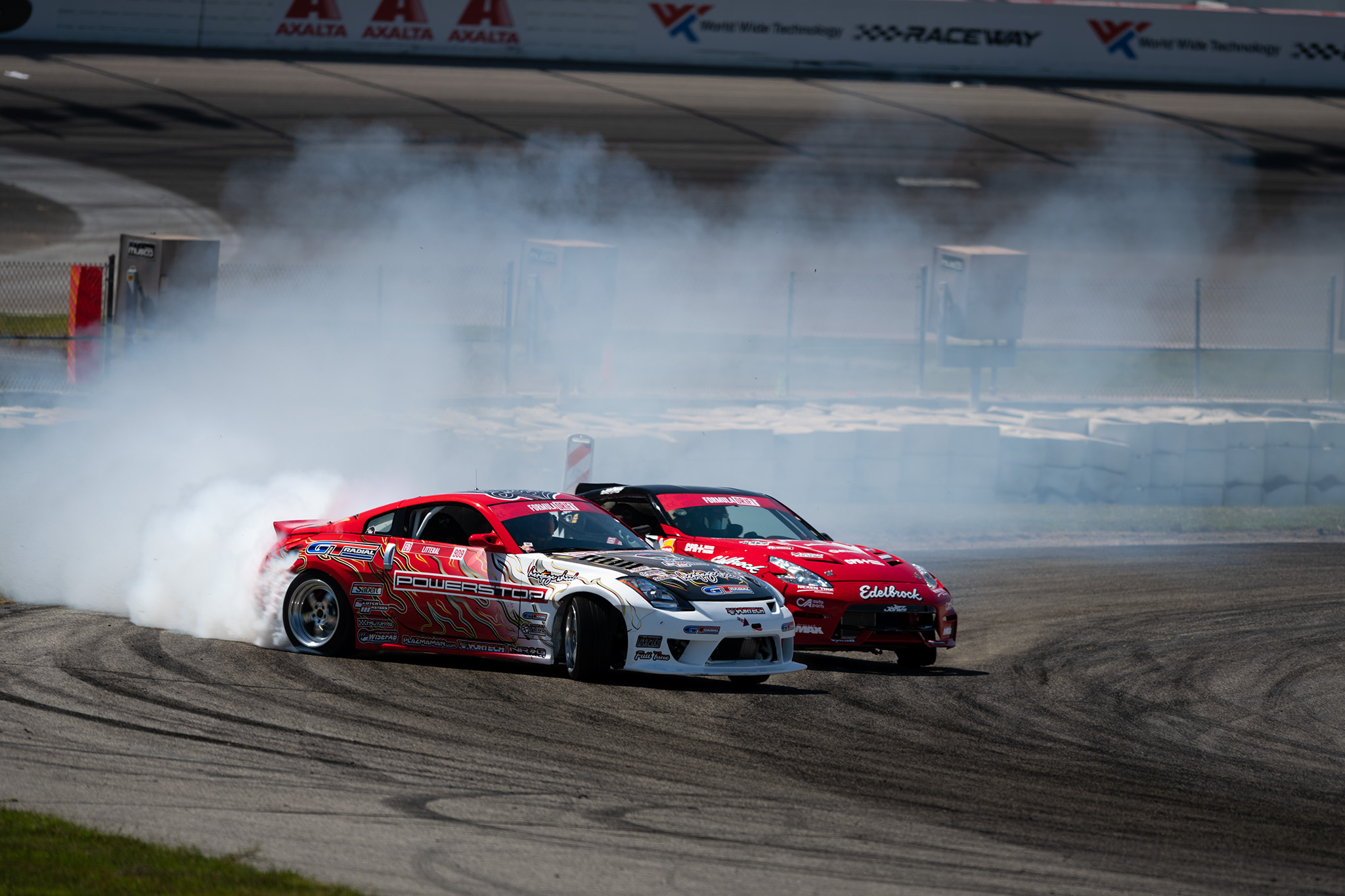 Ryan Litteral and Jeff Jones Nissan 350Z 370Z tandem drifting at Formula D Pro drifting championship 2020 double header Round 1 at St. Louis, motorsports photography by Luke Munnell