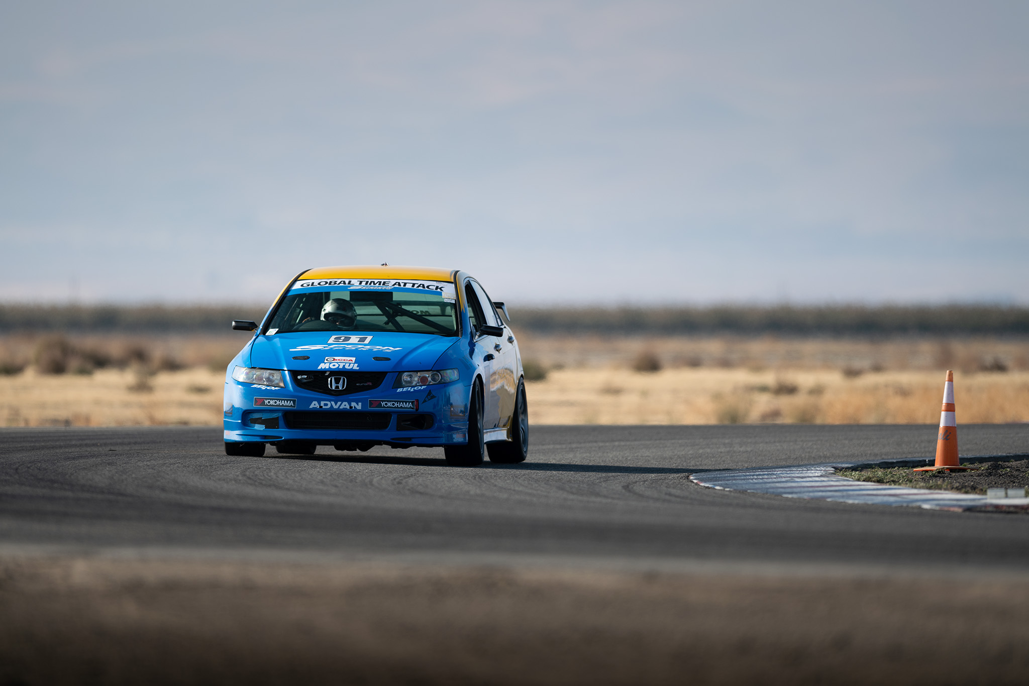 Therese Lahlouh behind the wheel of Nick Bright's Spoon Honda Accord Euro R at Global Time Attack finals motorsports photography by Luke Munnell