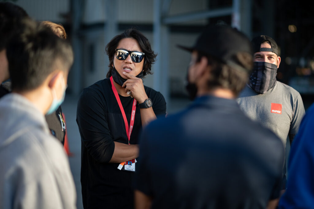 Actor Sung Kang and posse, during Formula Drift Irwindale finals, motorsports photography by Luke Munnell