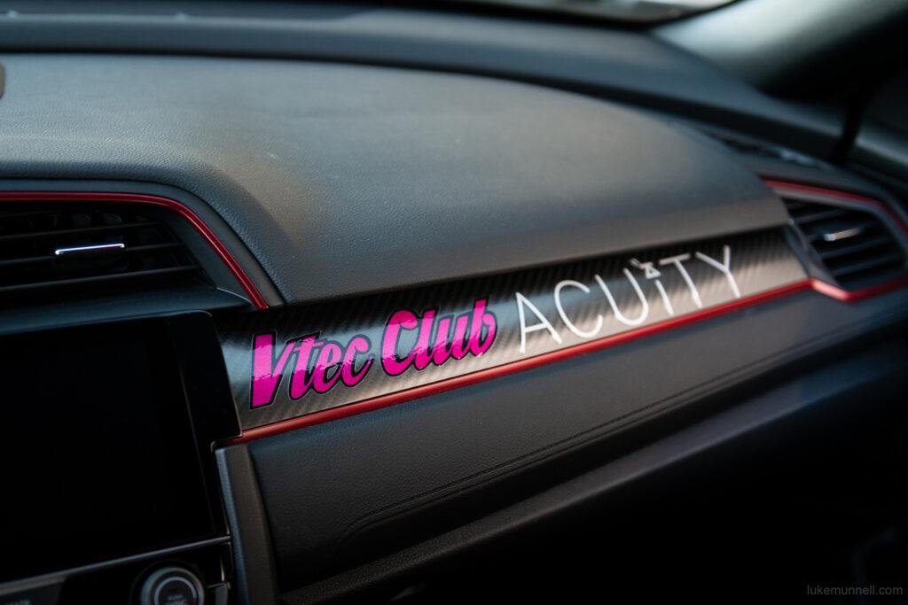 Mary Valdez FK8 Honda Civic Type R at COTA VTEC Club decal