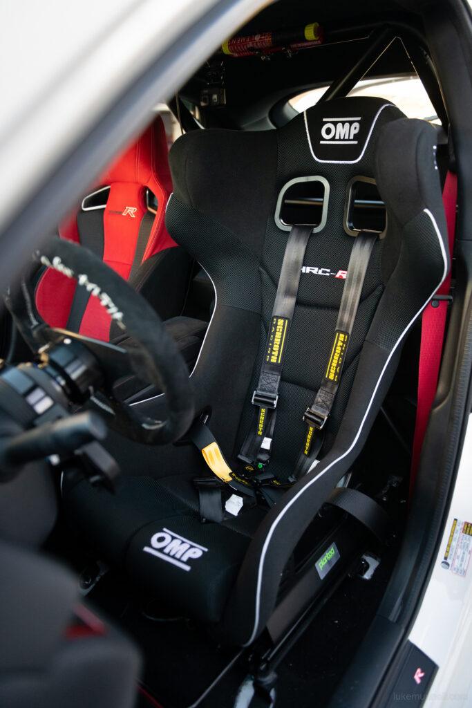 Mary Valdez FK8 Civic Type R interior OMP racing seat