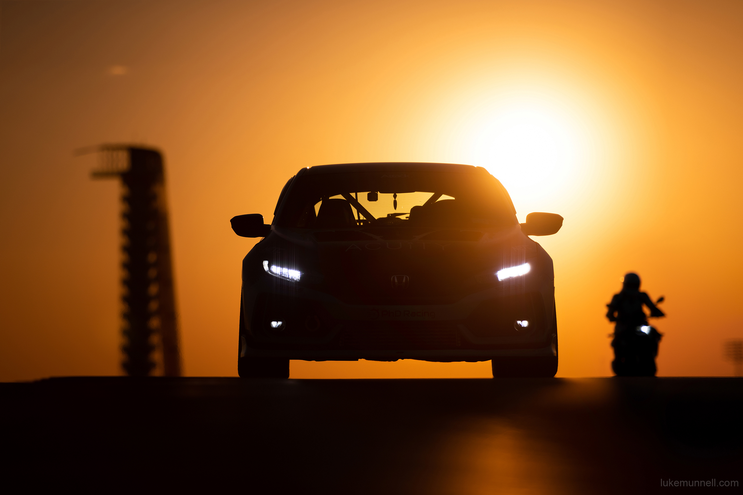 Mary Valdez FK8 Honda Civic Type R at COTA sunset at COTA with VP on motorcycle