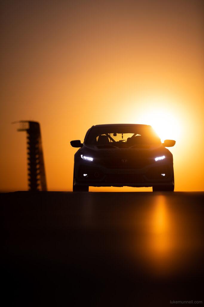Mary Valdez FK8 Honda Civic Type R at COTA sunset mobile wallpaper
